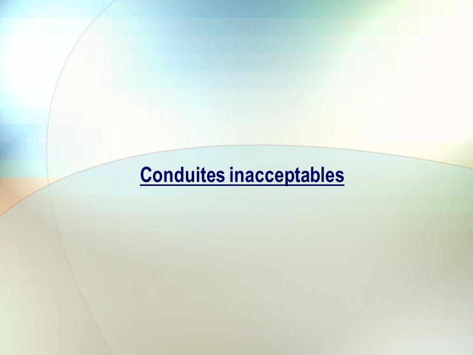 Conduites inacceptables
