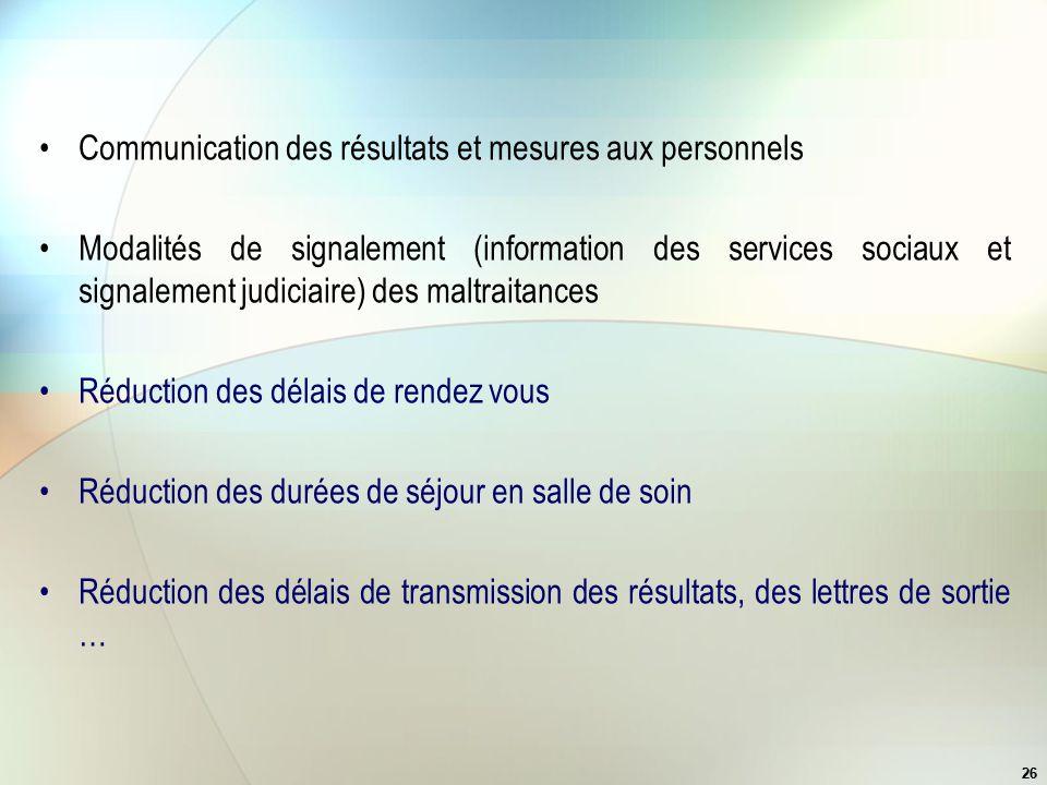 Communication des résultats et mesures aux personnels