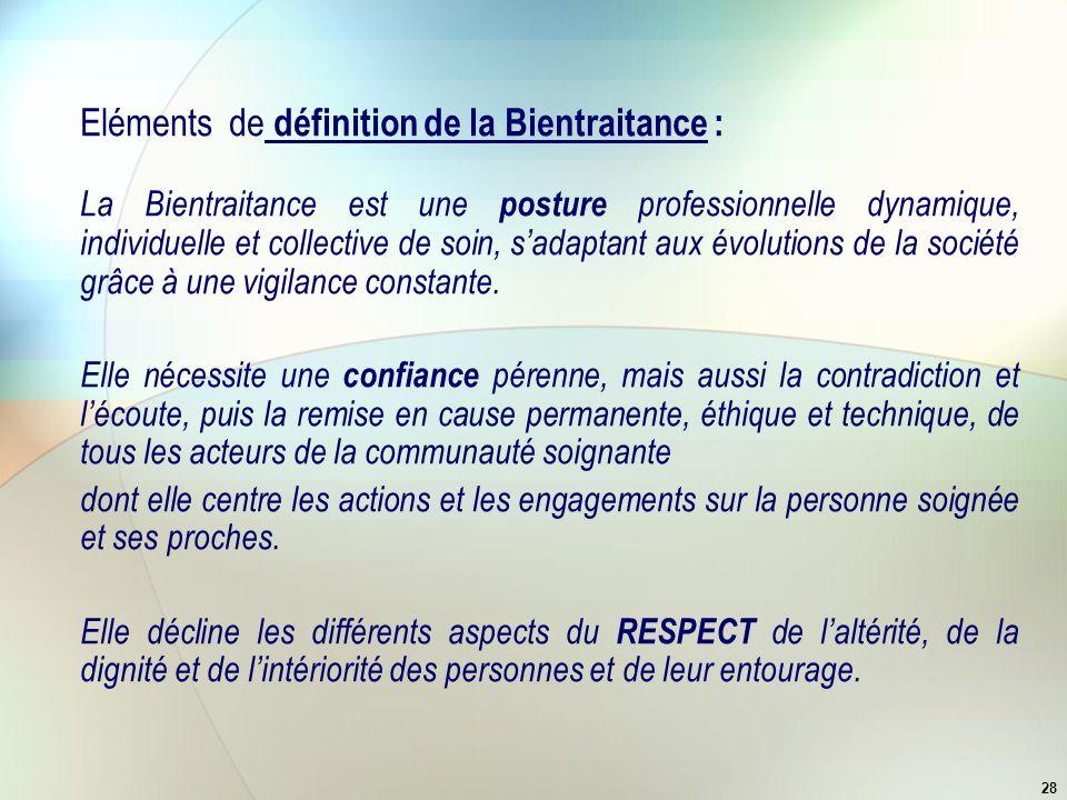 Eléments de définition de la Bientraitance :