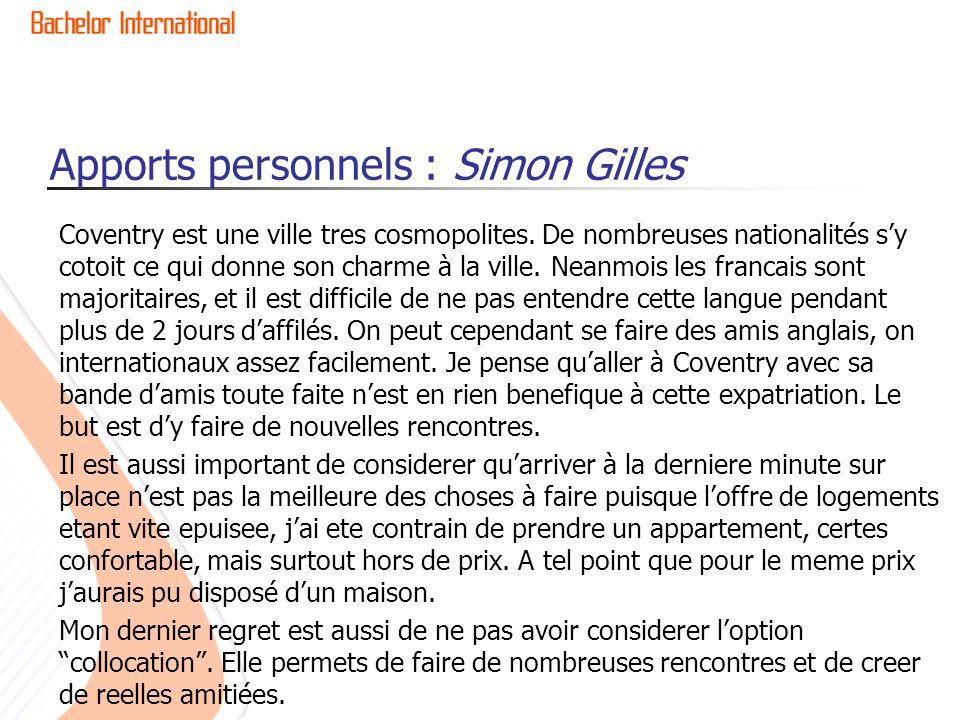 Apports personnels : Simon Gilles