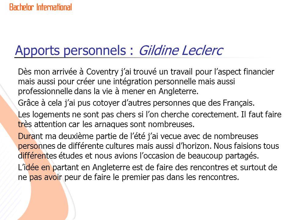 Apports personnels : Gildine Leclerc