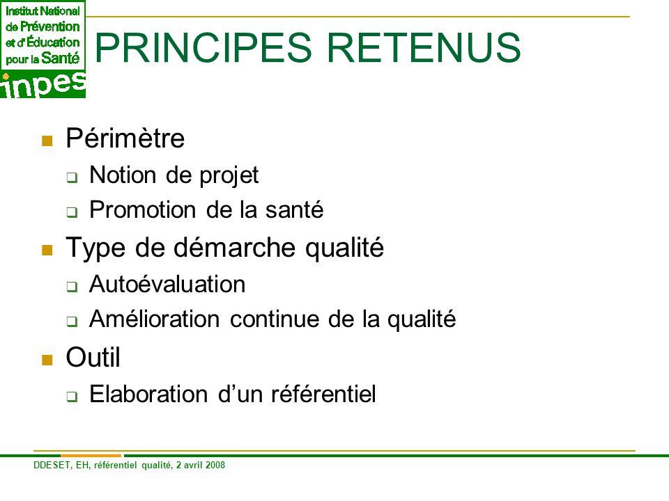 PRINCIPES RETENUS Périmètre Type de démarche qualité Outil