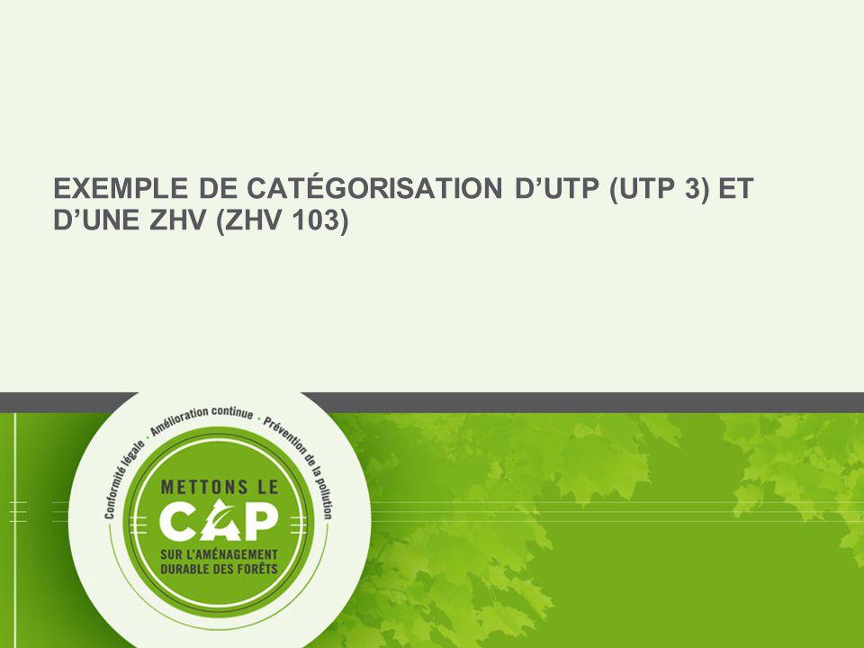 EXEMPLE DE CATÉGORISATION D'UTP (UTP 3) ET D'UNE ZHV (ZHV 103)