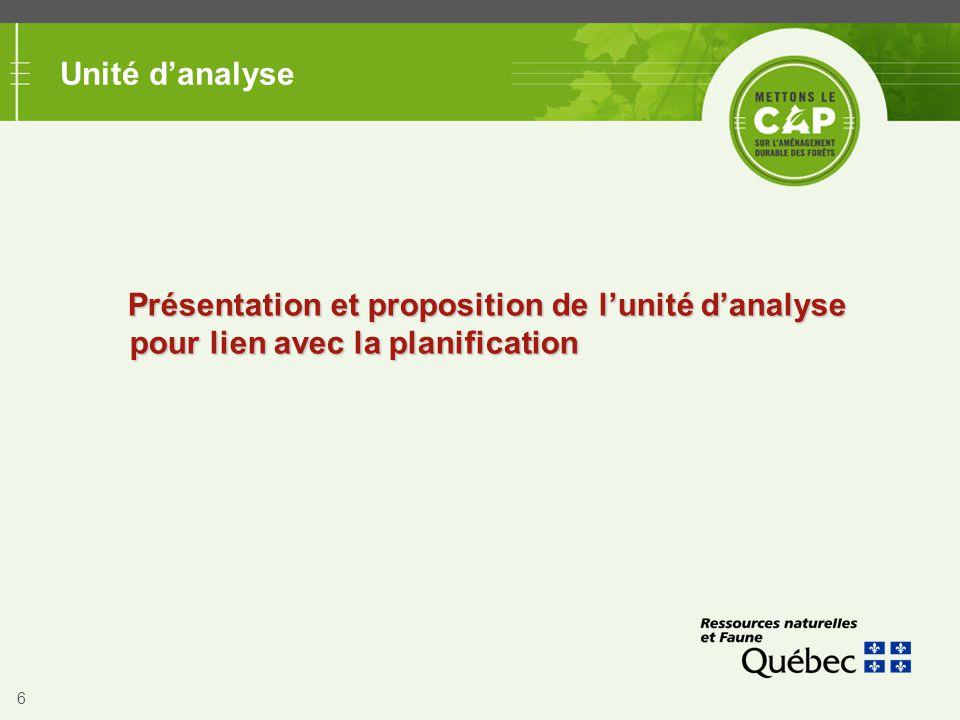 Unité d'analyse Présentation et proposition de l'unité d'analyse pour lien avec la planification