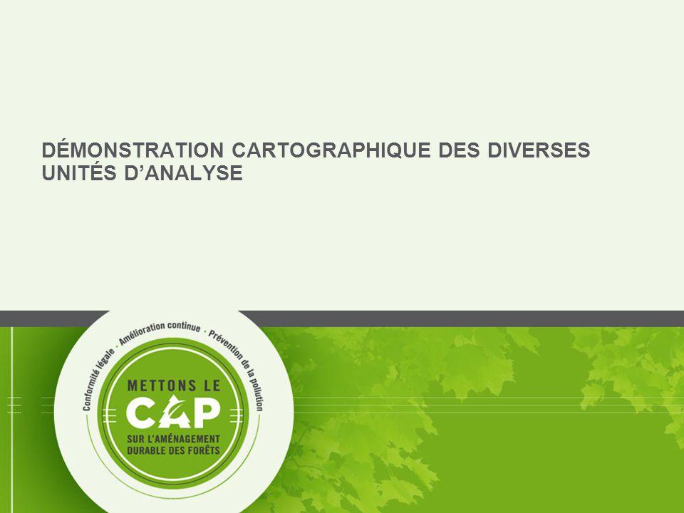 DÉMONSTRATION CARTOGRAPHIQUE DES DIVERSES UNITÉS D'ANALYSE