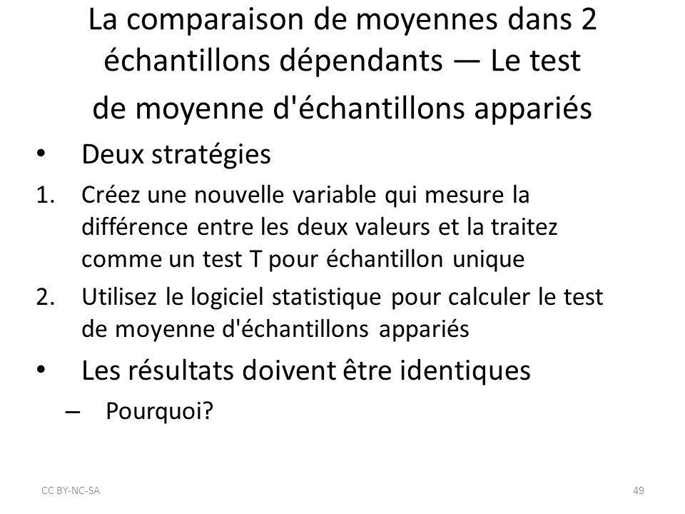 La comparaison de moyennes dans 2 échantillons dépendants — Le test de moyenne d échantillons appariés