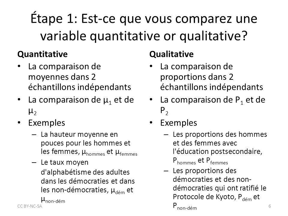 Étape 1: Est-ce que vous comparez une variable quantitative or qualitative