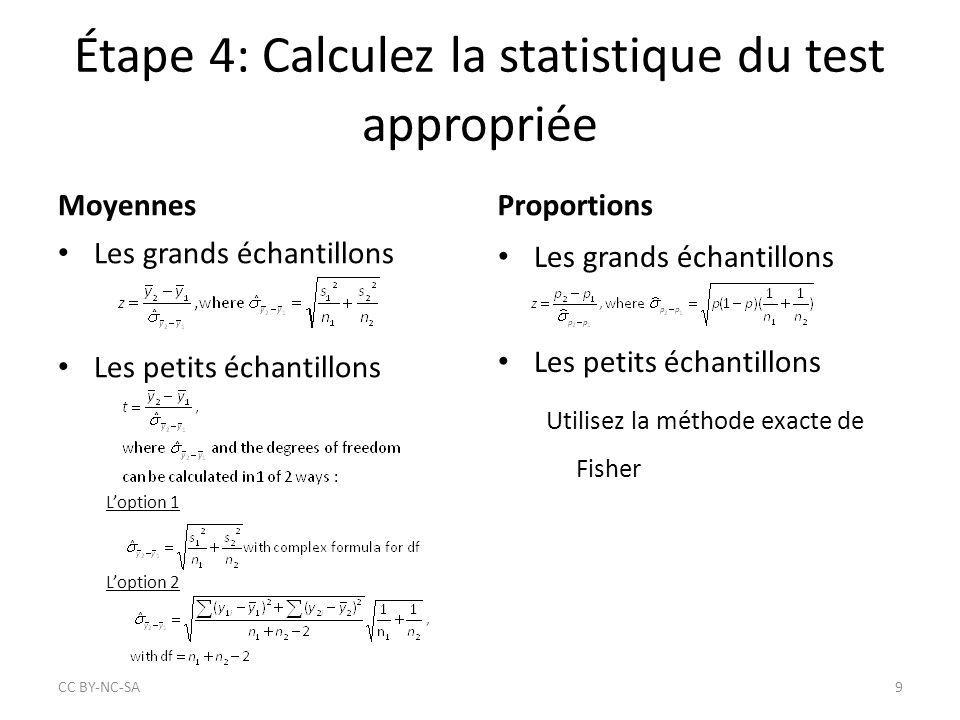 Étape 4: Calculez la statistique du test appropriée