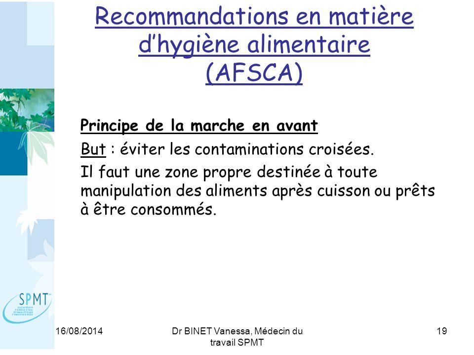 Recommandations en matière d'hygiène alimentaire (AFSCA)