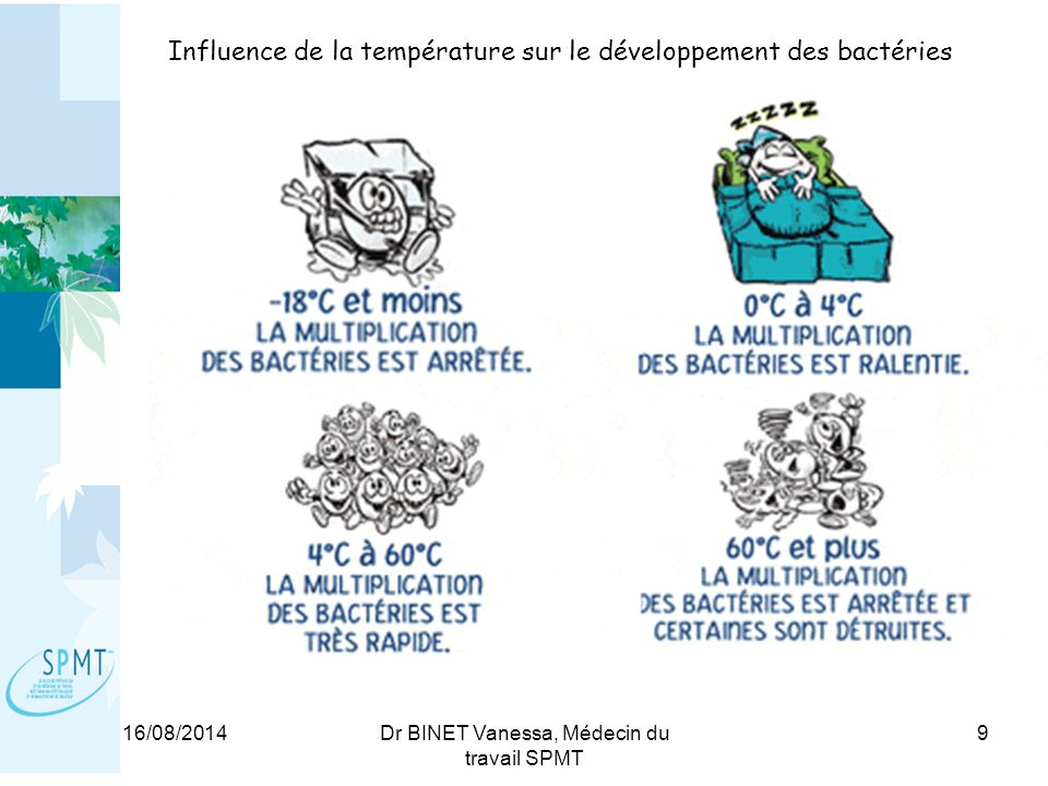 Influence de la température sur le développement des bactéries