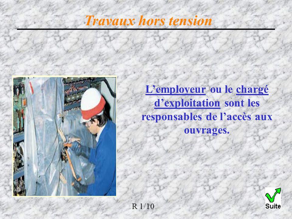 Travaux hors tension L'employeur ou le chargé d'exploitation sont les responsables de l'accès aux ouvrages.
