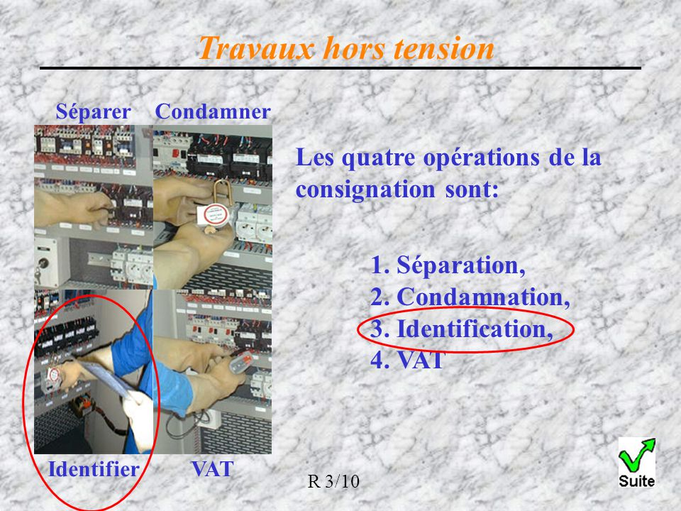 Travaux hors tension Les quatre opérations de la consignation sont: