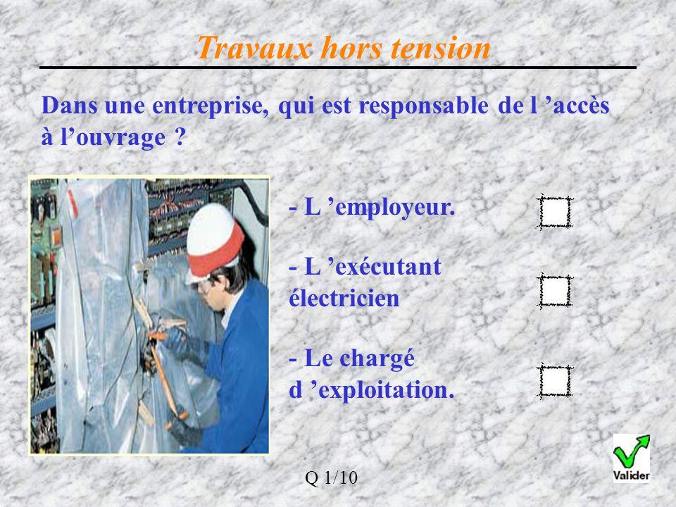 Travaux hors tension Dans une entreprise, qui est responsable de l 'accès à l'ouvrage - L 'employeur.