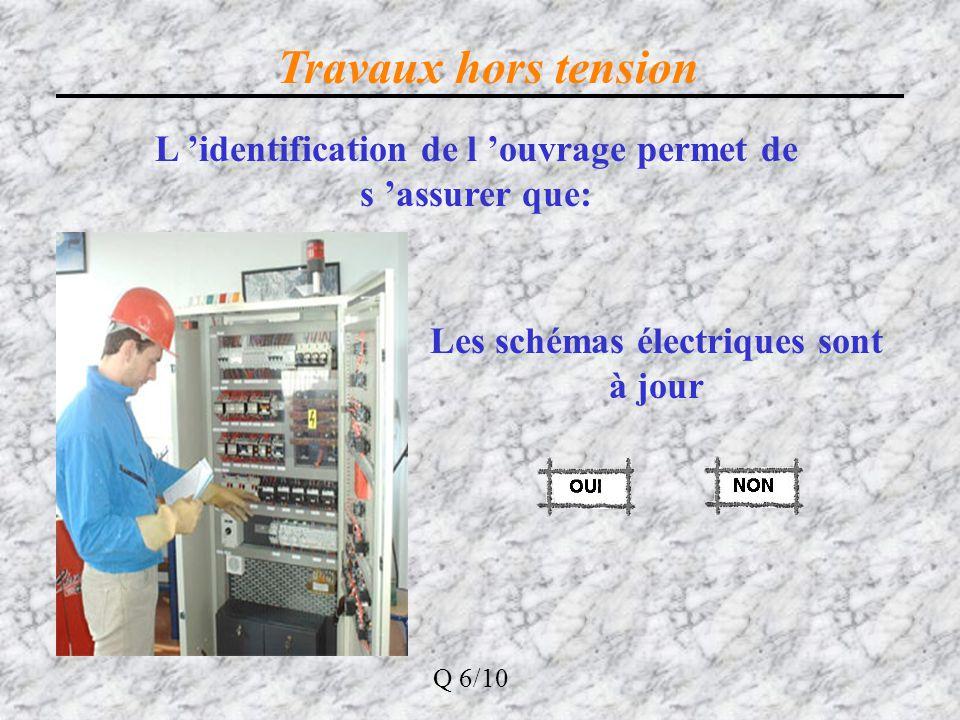 Travaux hors tension L 'identification de l 'ouvrage permet de s 'assurer que: Les schémas électriques sont à jour.