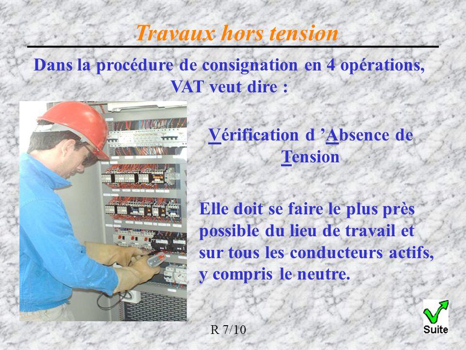 Travaux hors tension Dans la procédure de consignation en 4 opérations, VAT veut dire : Vérification d 'Absence de Tension.