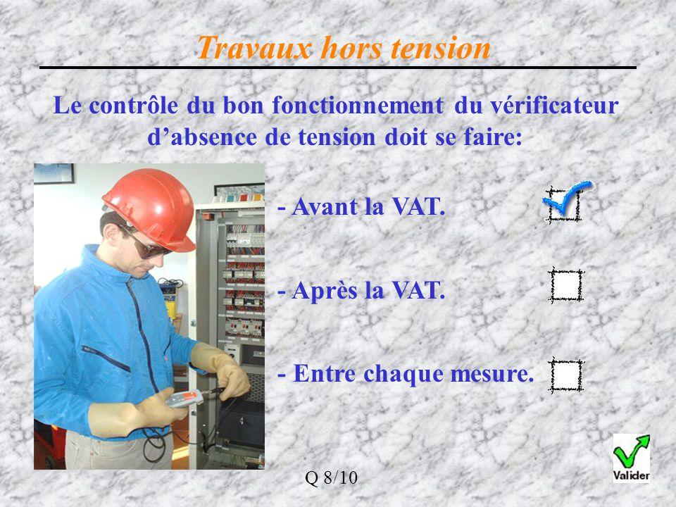 Travaux hors tension Le contrôle du bon fonctionnement du vérificateur d'absence de tension doit se faire:
