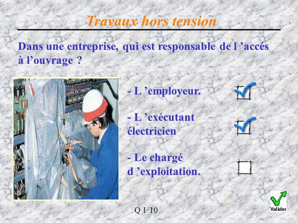 Travaux hors tension Dans une entreprise, qui est responsable de l 'accés à l'ouvrage - L 'employeur.
