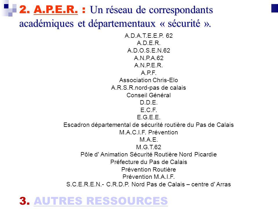 2. A.P.E.R. : Un réseau de correspondants académiques et départementaux « sécurité ».