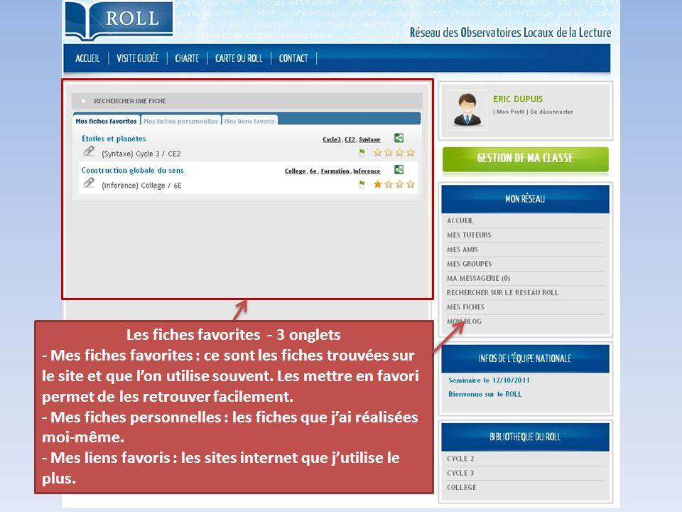 Les fiches favorites - 3 onglets