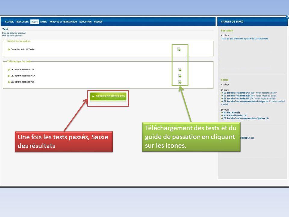 Téléchargement des tests et du guide de passation en cliquant sur les icones.