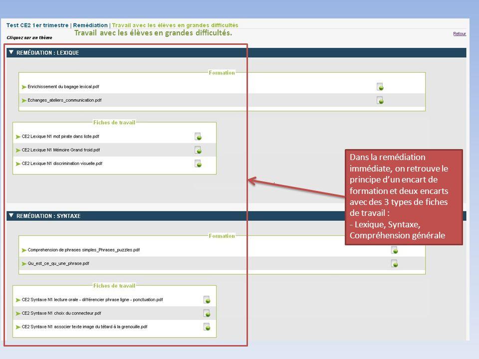 Lexique, Syntaxe, Compréhension générale