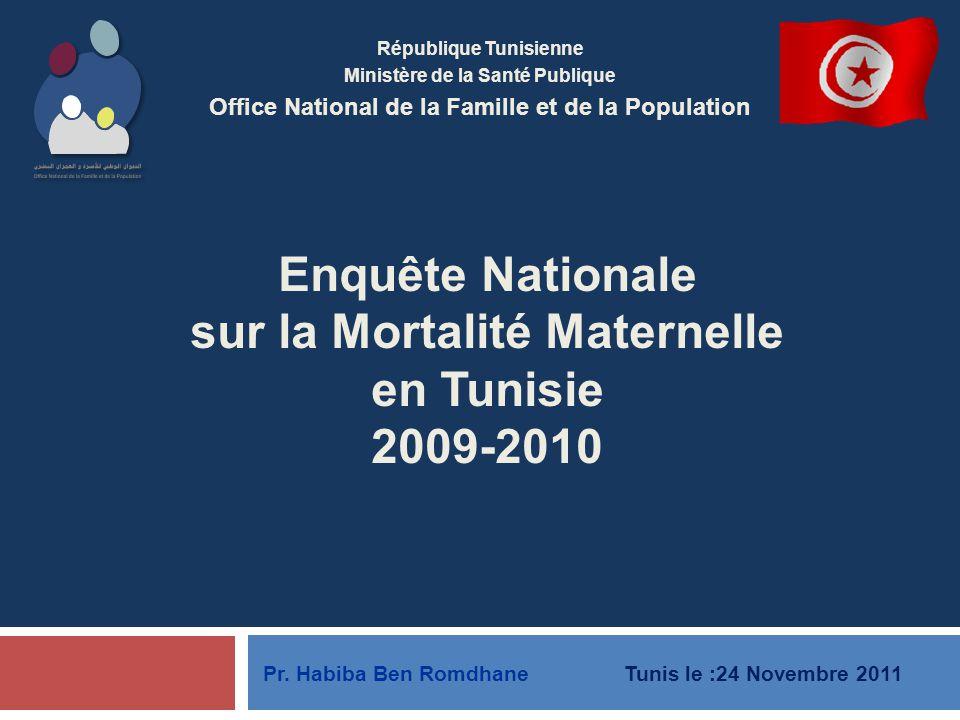 Enquête Nationale sur la Mortalité Maternelle en Tunisie 2009-2010