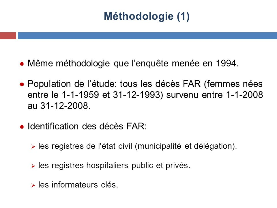 Méthodologie (1) Même méthodologie que l'enquête menée en 1994.