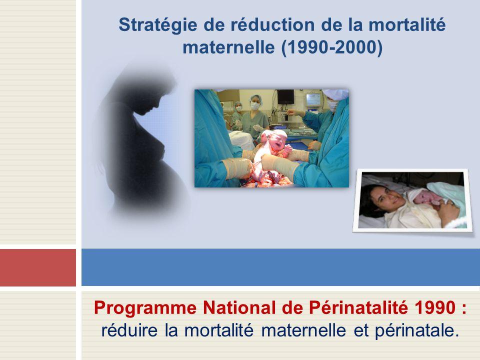 Stratégie de réduction de la mortalité maternelle (1990-2000)