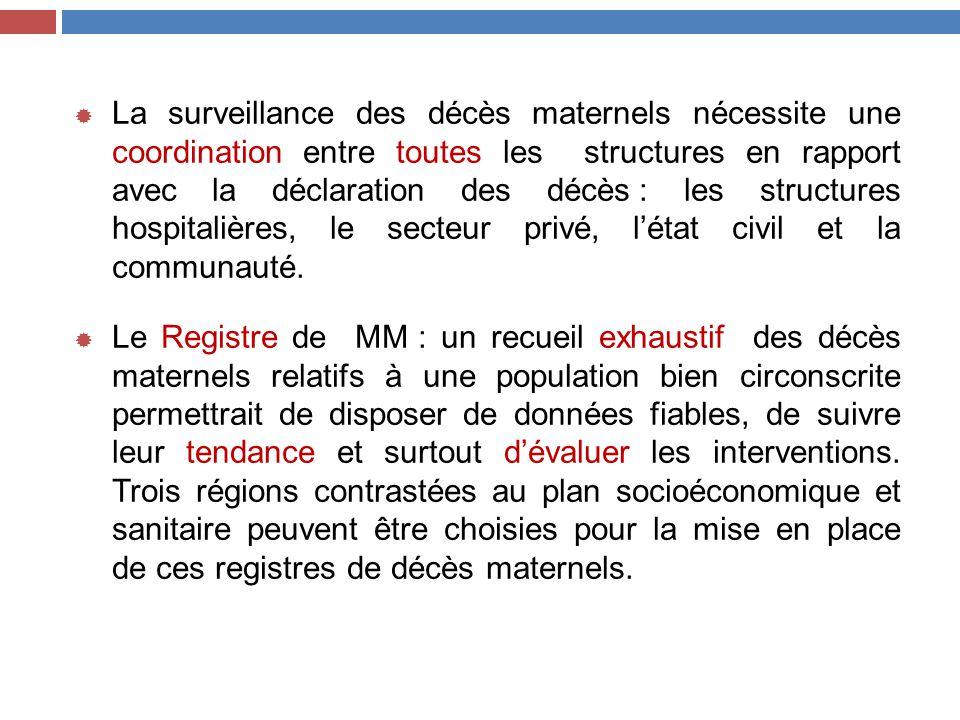 La surveillance des décès maternels nécessite une coordination entre toutes les structures en rapport avec la déclaration des décès : les structures hospitalières, le secteur privé, l'état civil et la communauté.