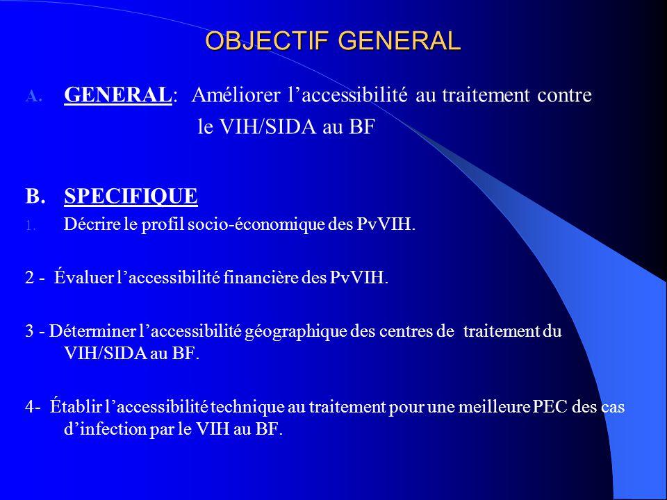 OBJECTIF GENERAL GENERAL: Améliorer l'accessibilité au traitement contre. le VIH/SIDA au BF. B. SPECIFIQUE.
