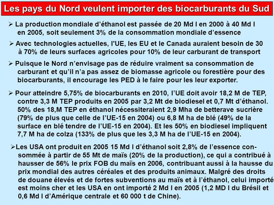 Les pays du Nord veulent importer des biocarburants du Sud