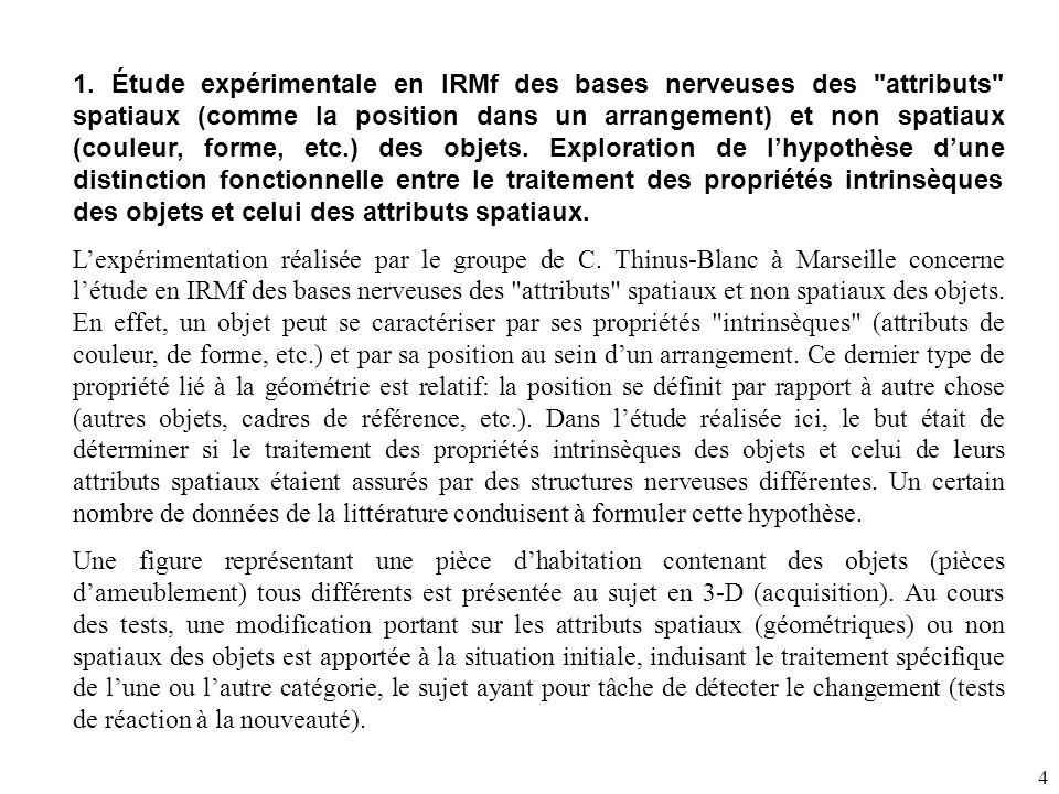 1. Étude expérimentale en IRMf des bases nerveuses des attributs spatiaux (comme la position dans un arrangement) et non spatiaux (couleur, forme, etc.) des objets. Exploration de l'hypothèse d'une distinction fonctionnelle entre le traitement des propriétés intrinsèques des objets et celui des attributs spatiaux.