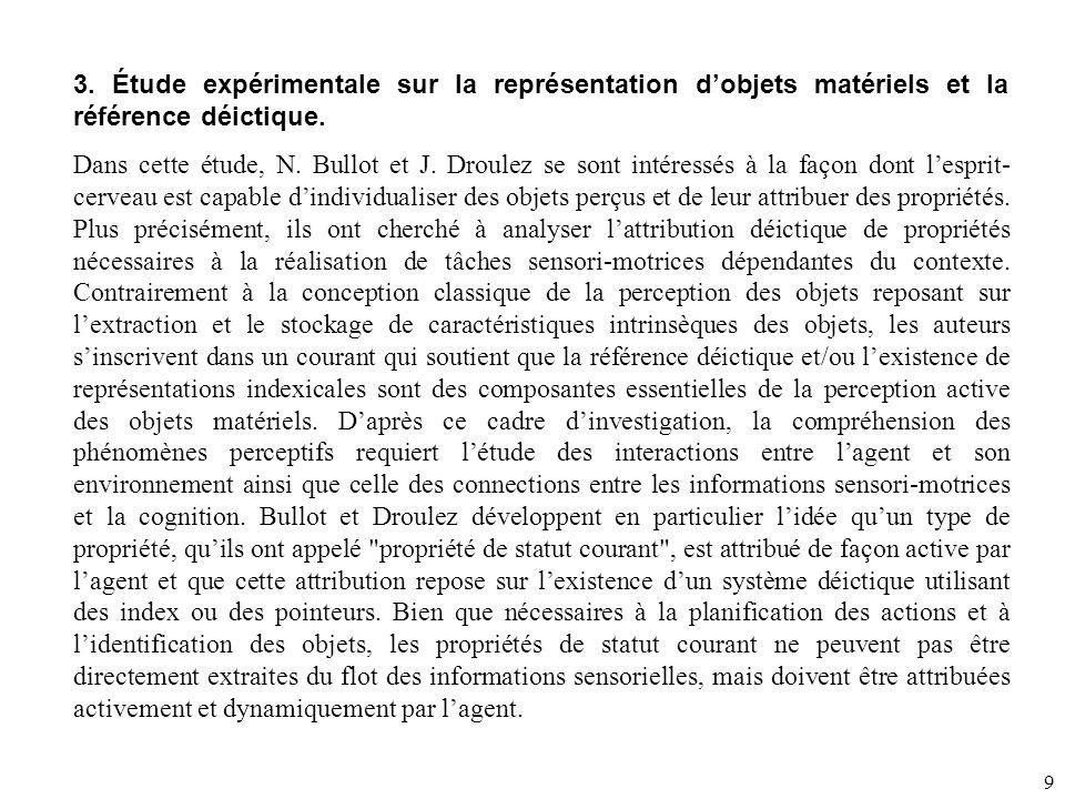 3. Étude expérimentale sur la représentation d'objets matériels et la référence déictique.