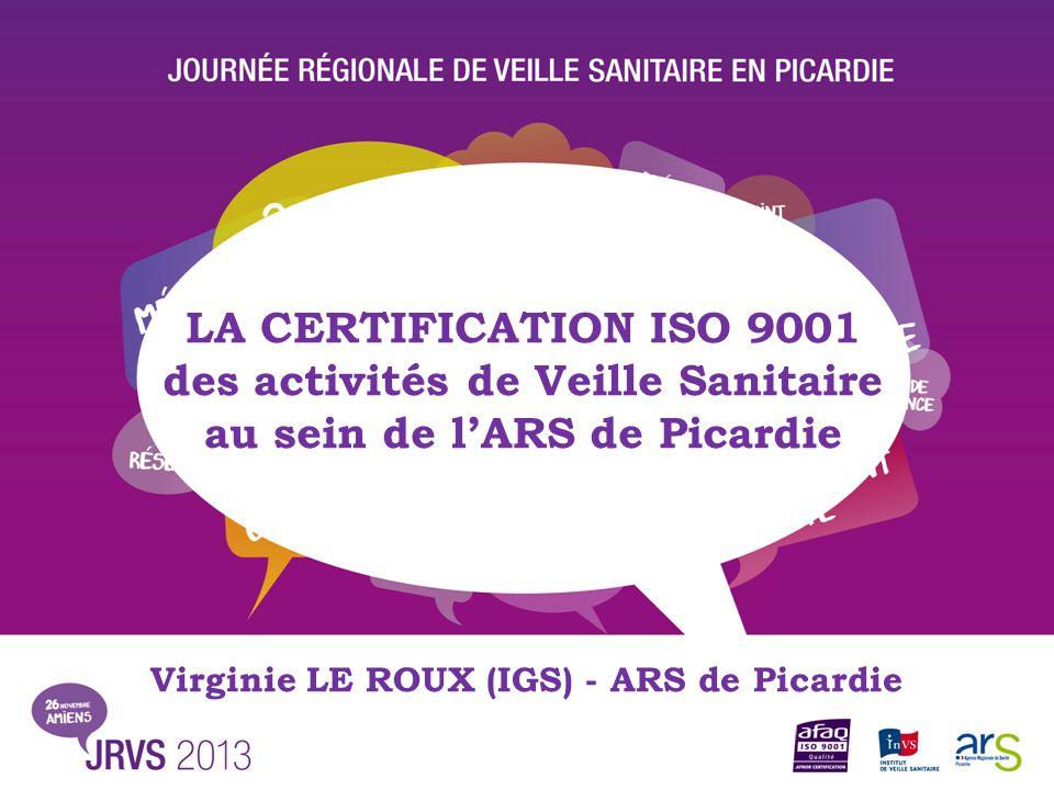 des activités de Veille Sanitaire au sein de l'ARS de Picardie
