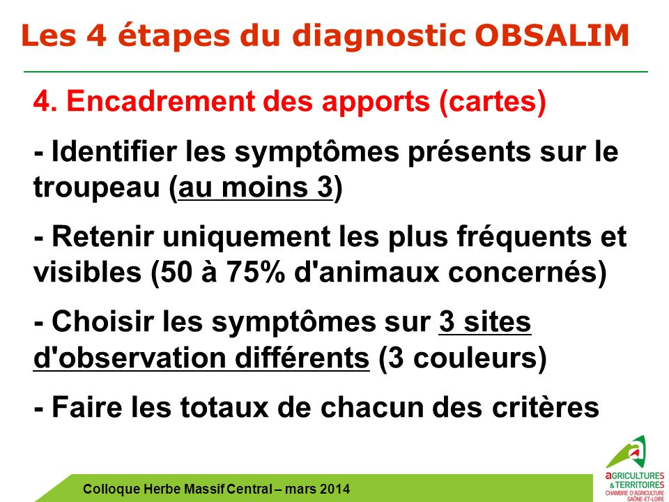 Les 4 étapes du diagnostic OBSALIM