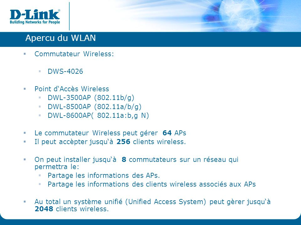 Apercu du WLAN Commutateur Wireless: DWS-4026 Point d'Accès Wireless
