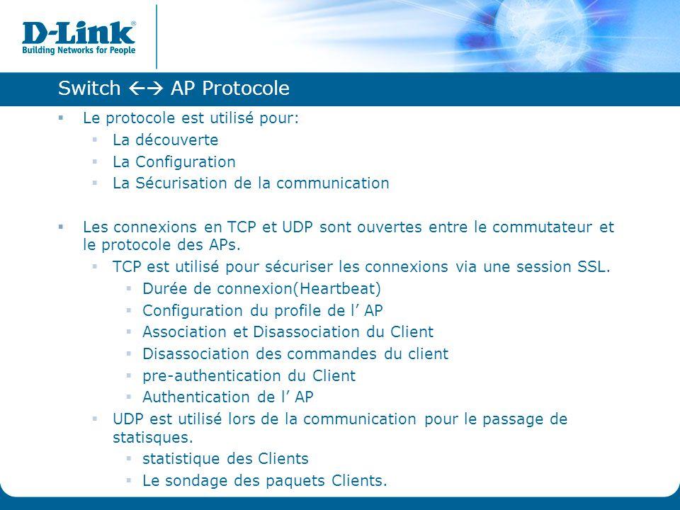 Switch  AP Protocole Le protocole est utilisé pour: La découverte