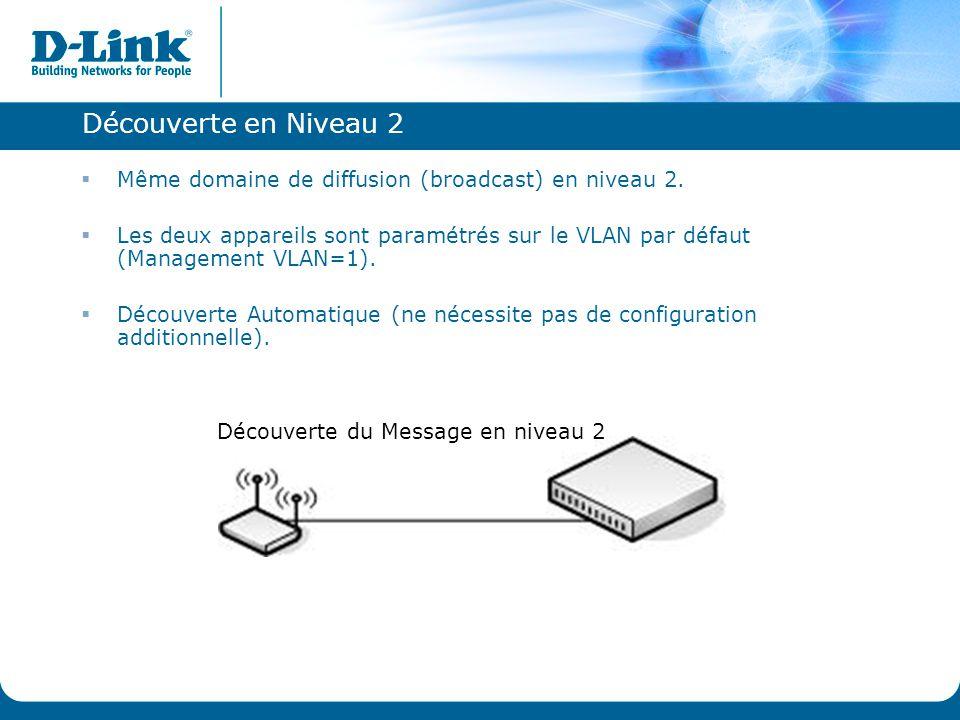 Découverte en Niveau 2 Même domaine de diffusion (broadcast) en niveau 2.
