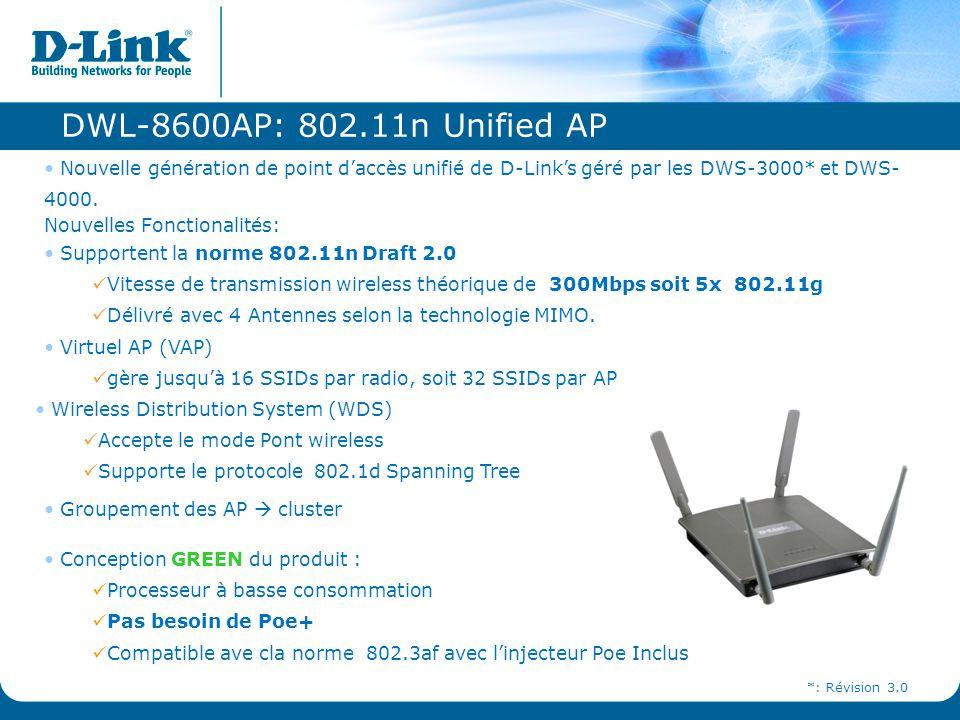 DWL-8600AP: 802.11n Unified AP Nouvelle génération de point d'accès unifié de D-Link's géré par les DWS-3000* et DWS-4000.