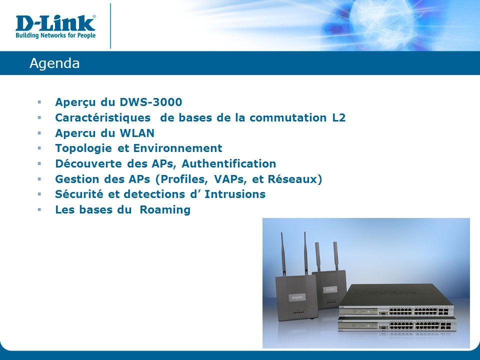 Agenda Aperçu du DWS-3000. Caractéristiques de bases de la commutation L2. Apercu du WLAN. Topologie et Environnement.