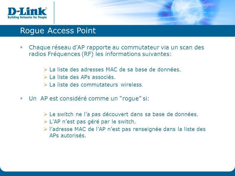 Rogue Access Point Chaque réseau d'AP rapporte au commutateur via un scan des radios Fréquences (RF) les informations suivantes: