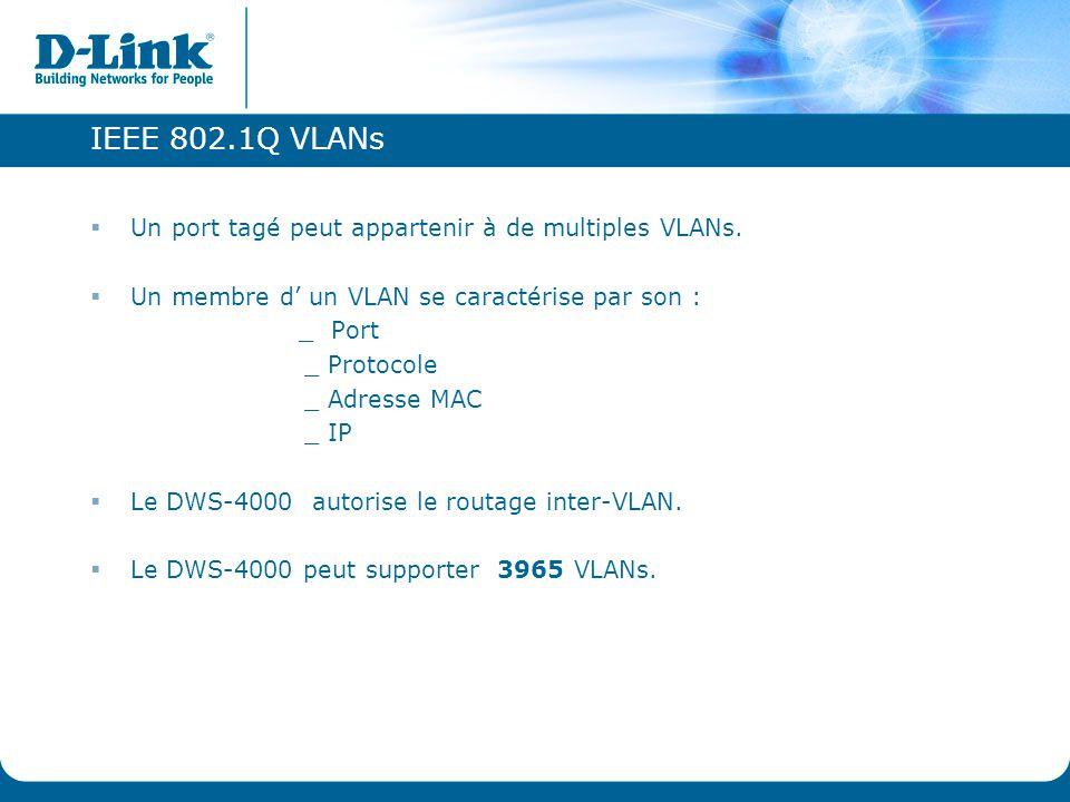 IEEE 802.1Q VLANs Un port tagé peut appartenir à de multiples VLANs.
