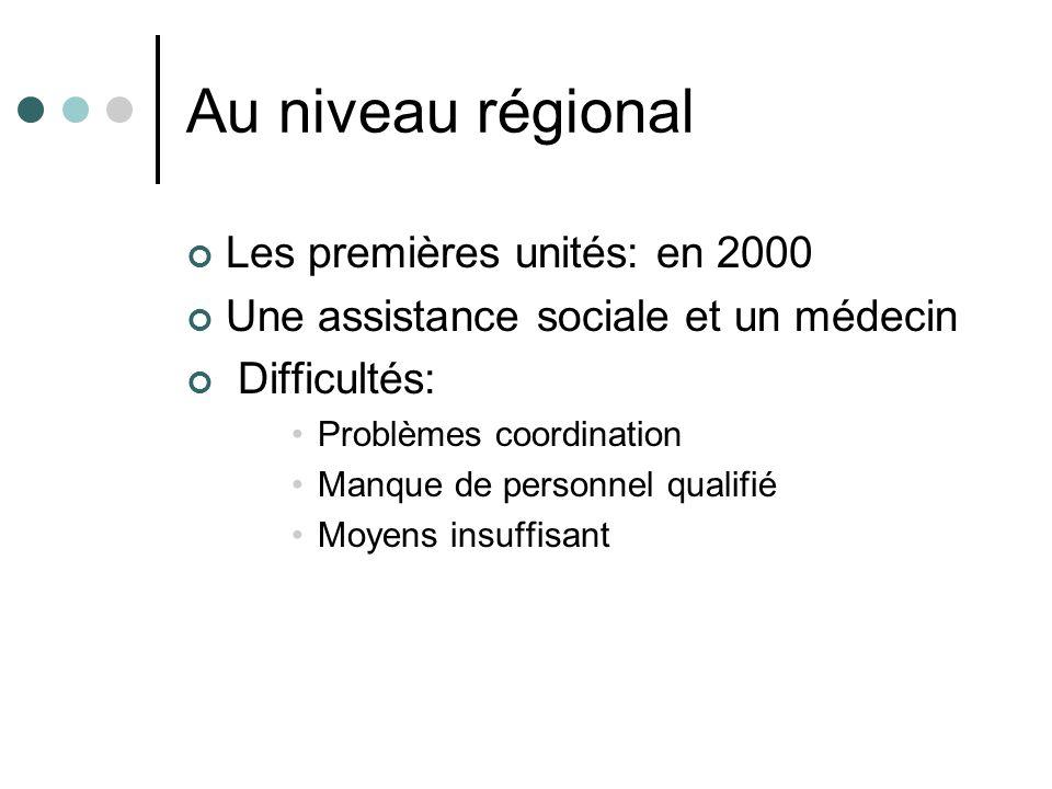 Au niveau régional Les premières unités: en 2000