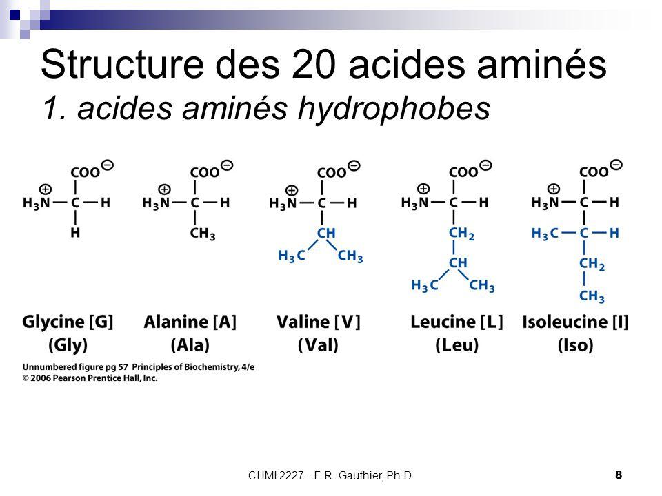 Structure des 20 acides aminés 1. acides aminés hydrophobes