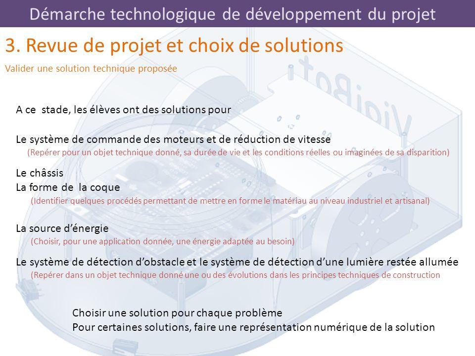 3. Revue de projet et choix de solutions