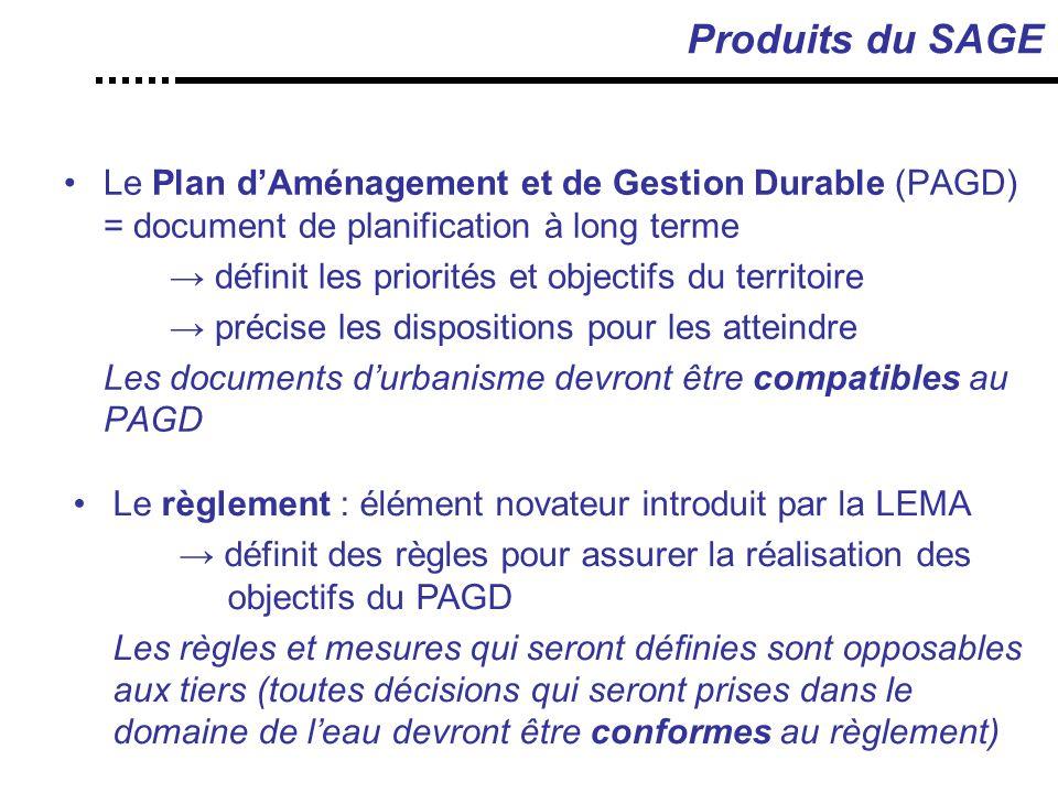 Produits du SAGE Le Plan d'Aménagement et de Gestion Durable (PAGD) = document de planification à long terme.