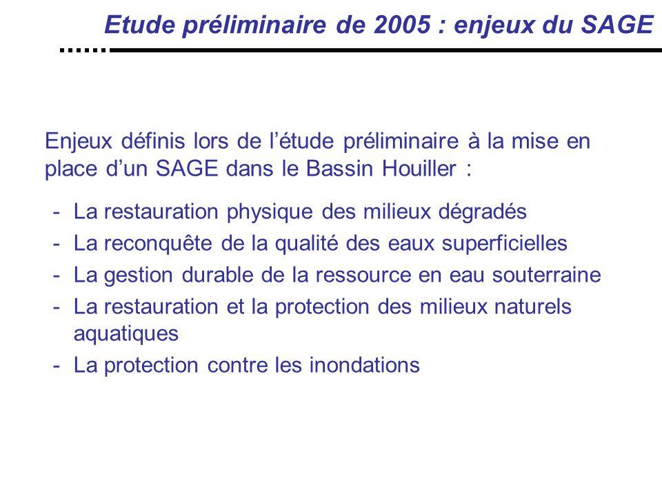 Etude préliminaire de 2005 : enjeux du SAGE