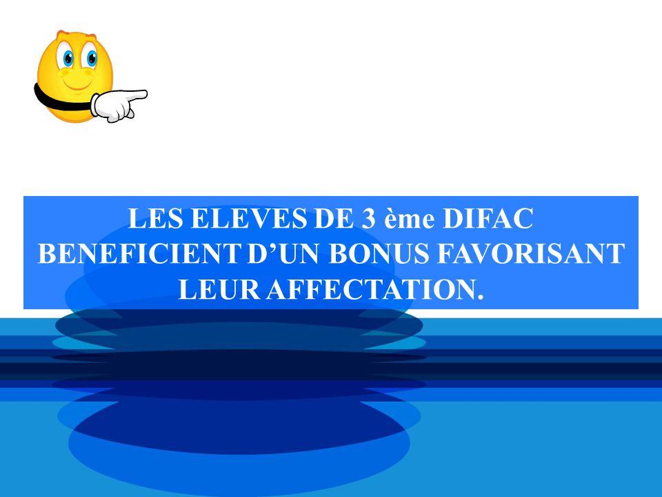 LES ELEVES DE 3 ème DIFAC BENEFICIENT D'UN BONUS FAVORISANT LEUR AFFECTATION.