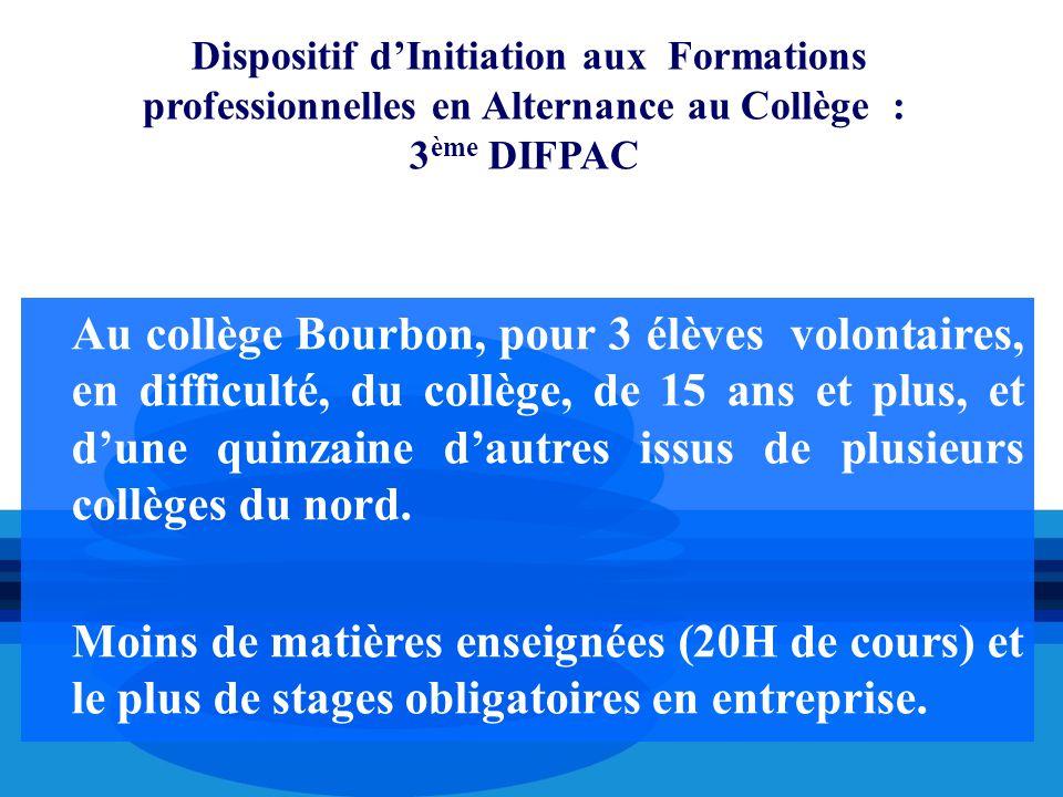 Dispositif d'Initiation aux Formations professionnelles en Alternance au Collège : 3ème DIFPAC