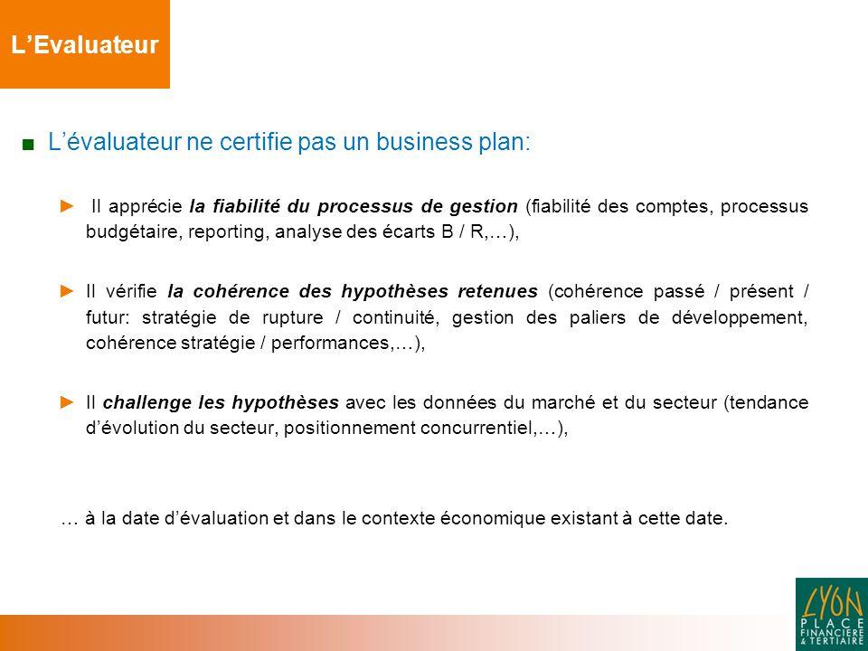 L'évaluateur ne certifie pas un business plan: